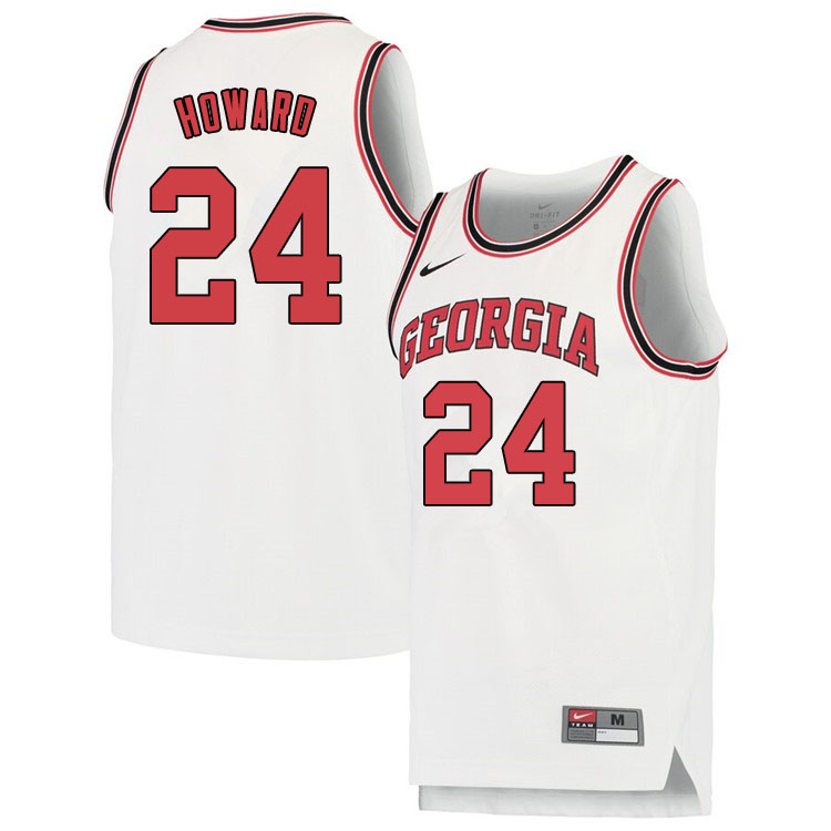 Men #24 Rodney Howard Georgina Bulldogs College Basketball Jerseys Sale-White