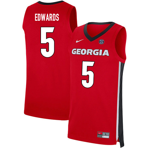 2020 Men #5 Anthony Edwards Georgia Bulldogs College Basketball Jerseys Sale-Red