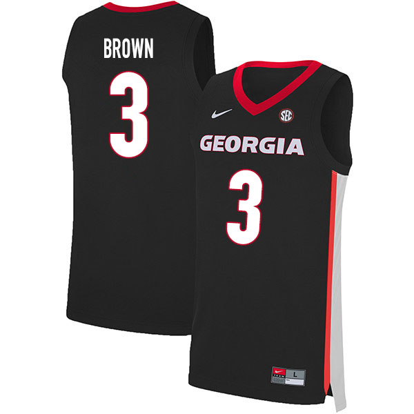 2020 Men #3 Christian Brown Georgia Bulldogs College Basketball Jerseys Sale-Black