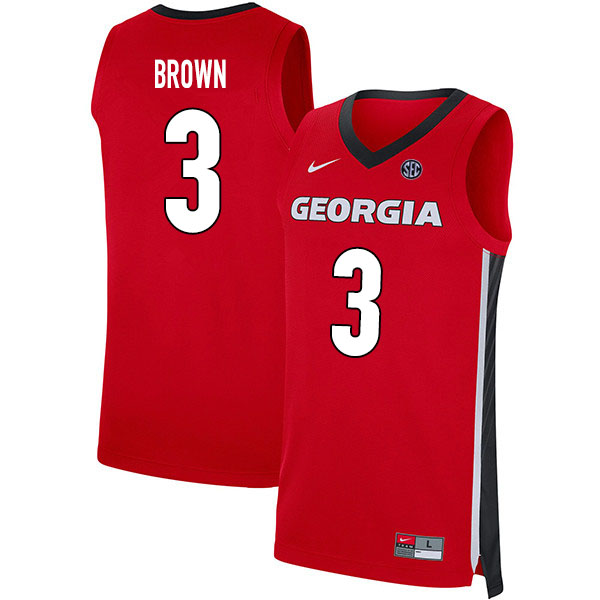 2020 Men #3 Christian Brown Georgia Bulldogs College Basketball Jerseys Sale-Red