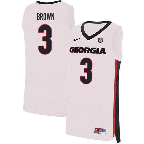 2020 Men #3 Christian Brown Georgia Bulldogs College Basketball Jerseys Sale-White