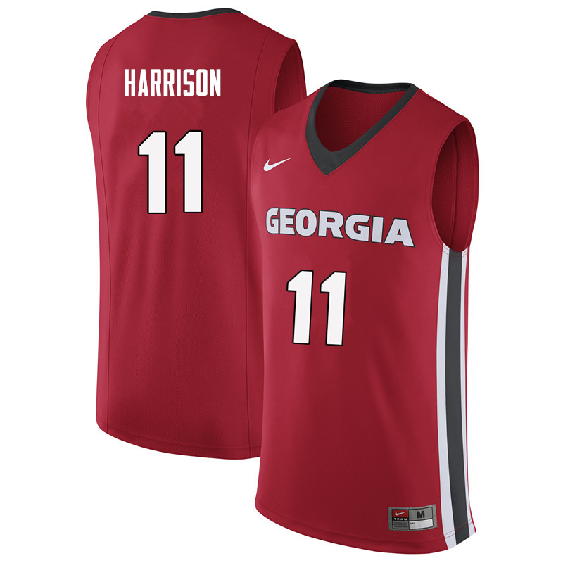 Men #11 Christian Harrison Georgia Bulldogs College Basketball Jerseys Sale-Red