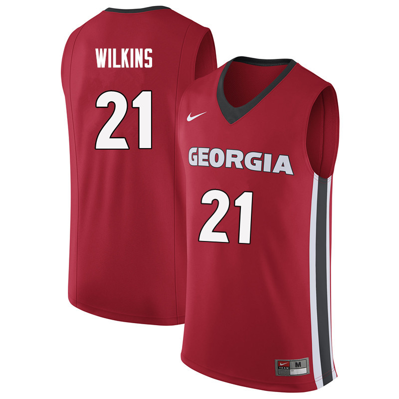 Men #21 Dominique Wilkins Georgia Bulldogs College Basketball Jerseys Sale-Red - Click Image to Close