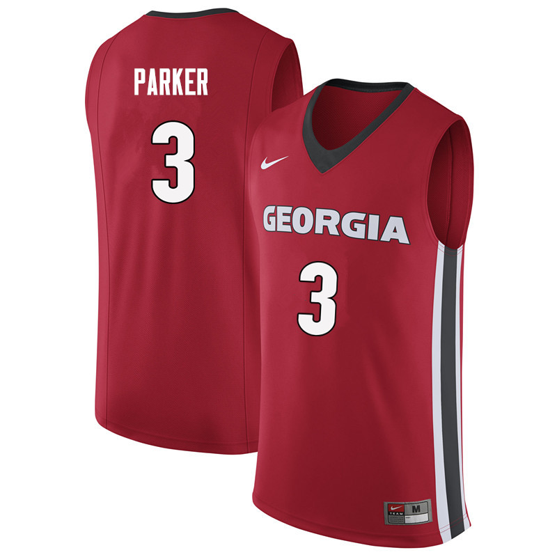 Men #3 Juwan Parker Georgia Bulldogs College Basketball Jerseys Sale-Red