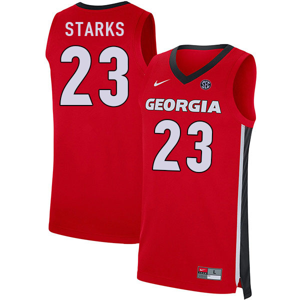 Men #23 Mikal Starks Georgia Bulldogs College Basketball Jerseys Sale-Red