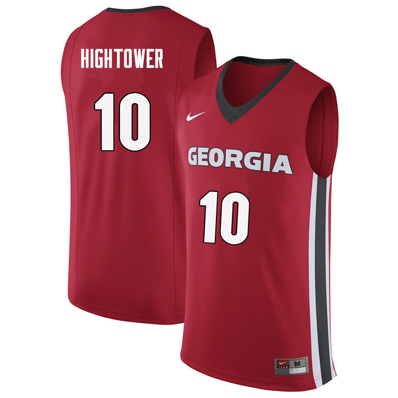 Men #10 Teshaun Hightower Georgia Bulldogs College Basketball Jerseys Sale-Red