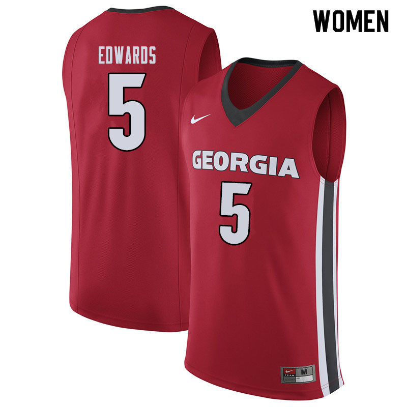 Women #5 Anthony Edwards Georgina Bulldogs College Basketball Jerseys Sale-Red