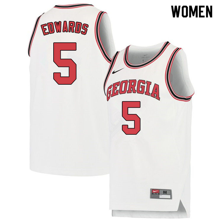 Women #5 Anthony Edwards Georgina Bulldogs College Basketball Jerseys Sale-White