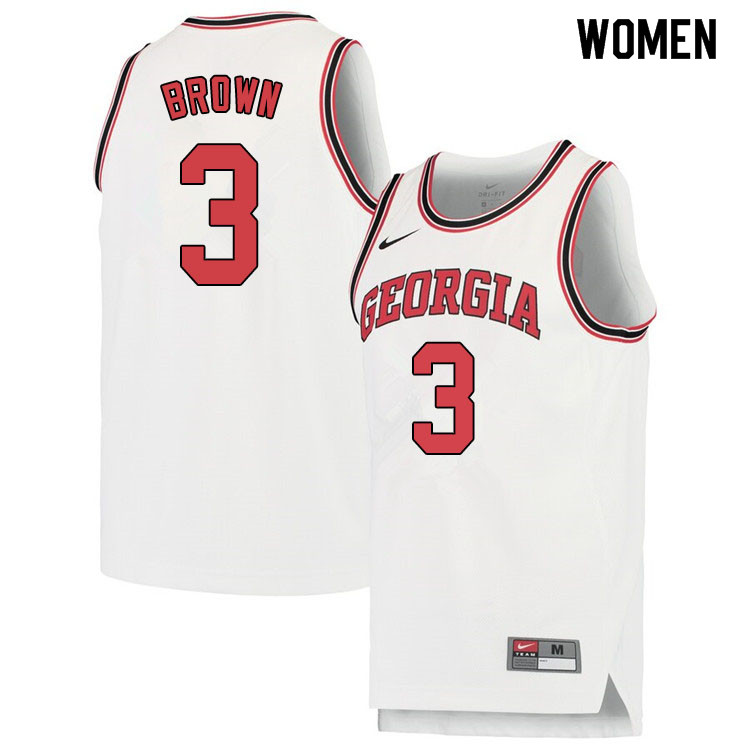 Women #3 Christian Brown Georgina Bulldogs College Basketball Jerseys Sale-White