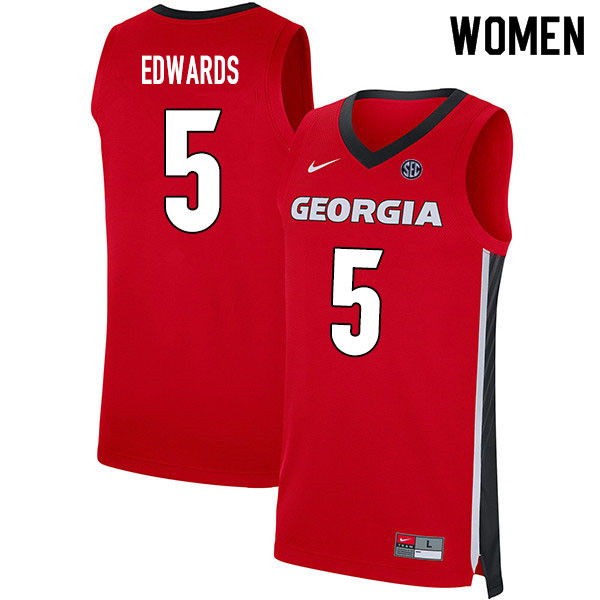 2020 Women #5 Anthony Edwards Georgia Bulldogs College Basketball Jerseys Sale-Red