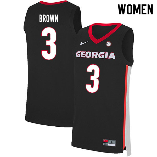2020 Women #3 Christian Brown Georgia Bulldogs College Basketball Jerseys Sale-Black