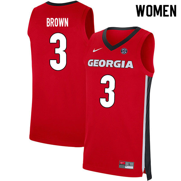 2020 Women #3 Christian Brown Georgia Bulldogs College Basketball Jerseys Sale-Red