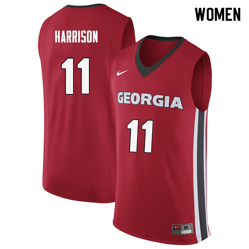 Women #11 Christian Harrison Georgia Bulldogs College Basketball Jerseys Sale-Red