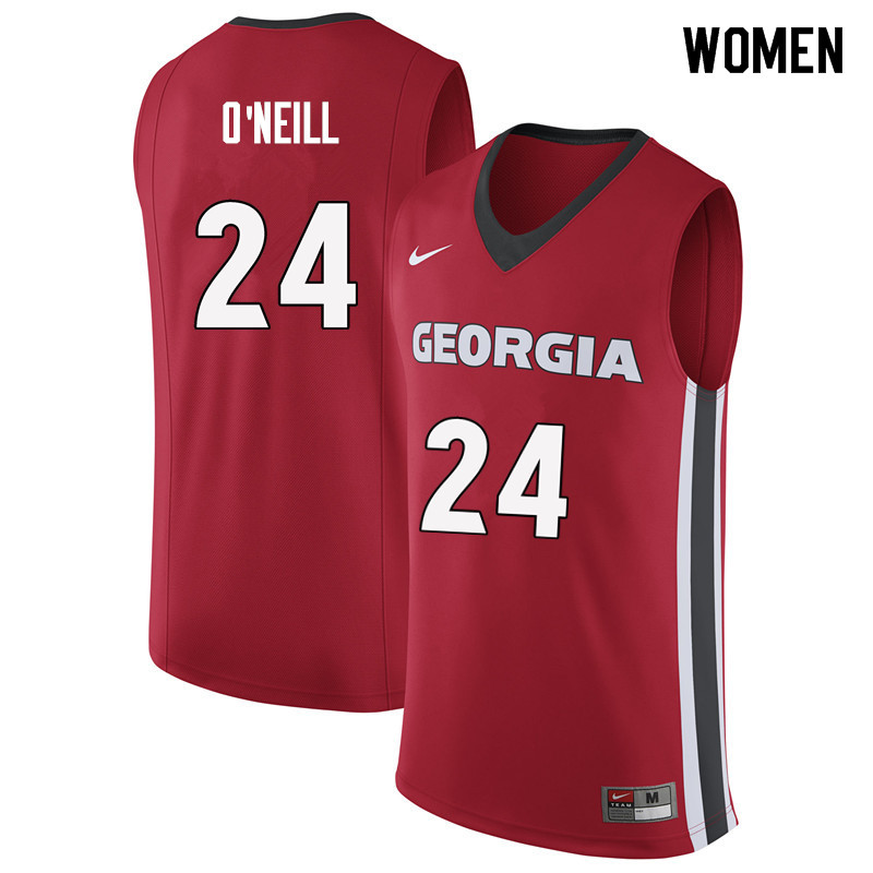 Women #24 Connor O'Neill Georgia Bulldogs College Basketball Jerseys Sale-Red
