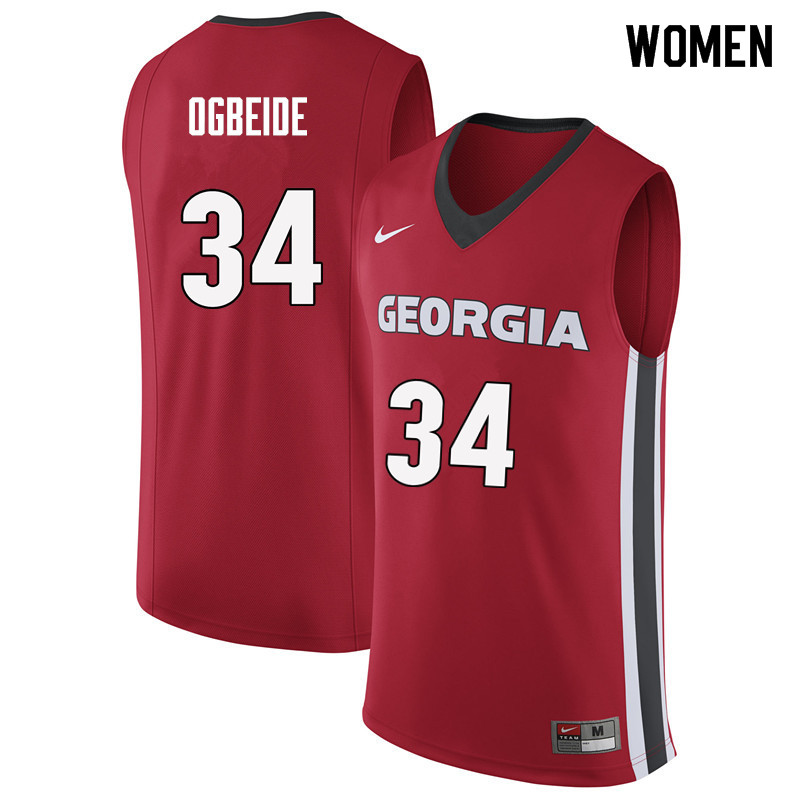 Women #34 Derek Ogbeide Georgia Bulldogs College Basketball Jerseys Sale-Red