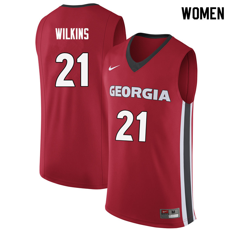 Women #21 Dominique Wilkins Georgia Bulldogs College Basketball Jerseys Sale-Red