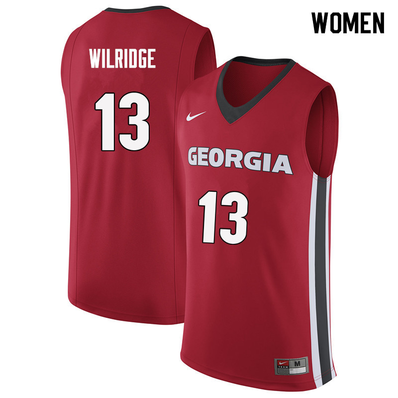 Women #13 E'Torrion Wilridge Georgia Bulldogs College Basketball Jerseys Sale-Red
