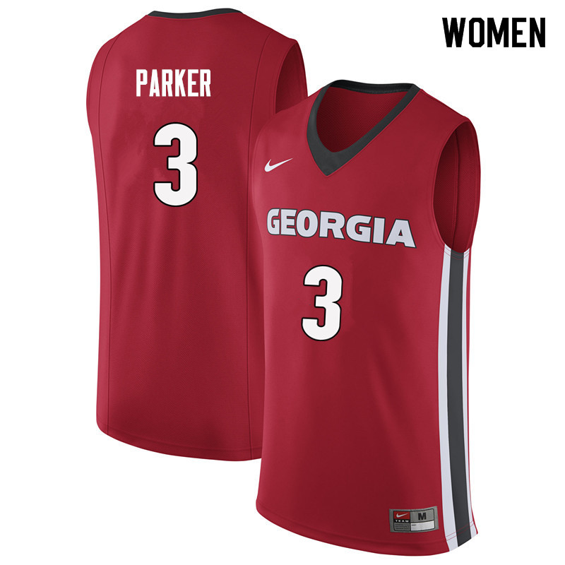 Women #3 Juwan Parker Georgia Bulldogs College Basketball Jerseys Sale-Red