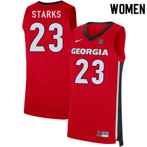 Women #23 Mikal Starks Georgia Bulldogs College Basketball Jerseys Sale-Red