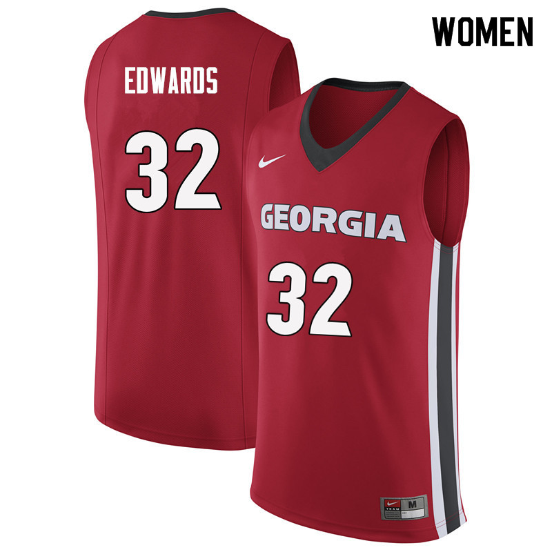Women #32 Mike Edwards Georgia Bulldogs College Basketball Jerseys Sale-Red