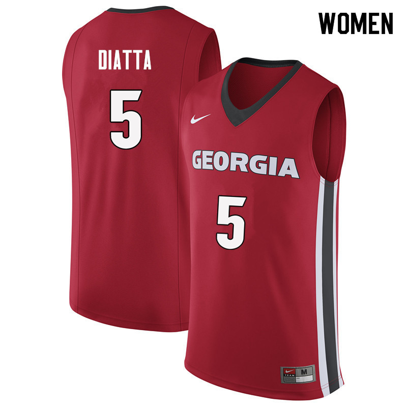 Women #5 Pape Diatta Georgia Bulldogs College Basketball Jerseys Sale-Red