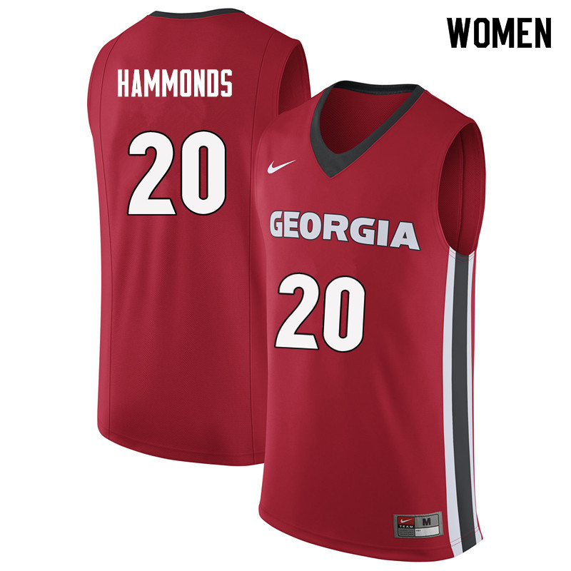 Women #20 Rayshaun Hammonds Georgia Bulldogs College Basketball Jerseys Sale-Red