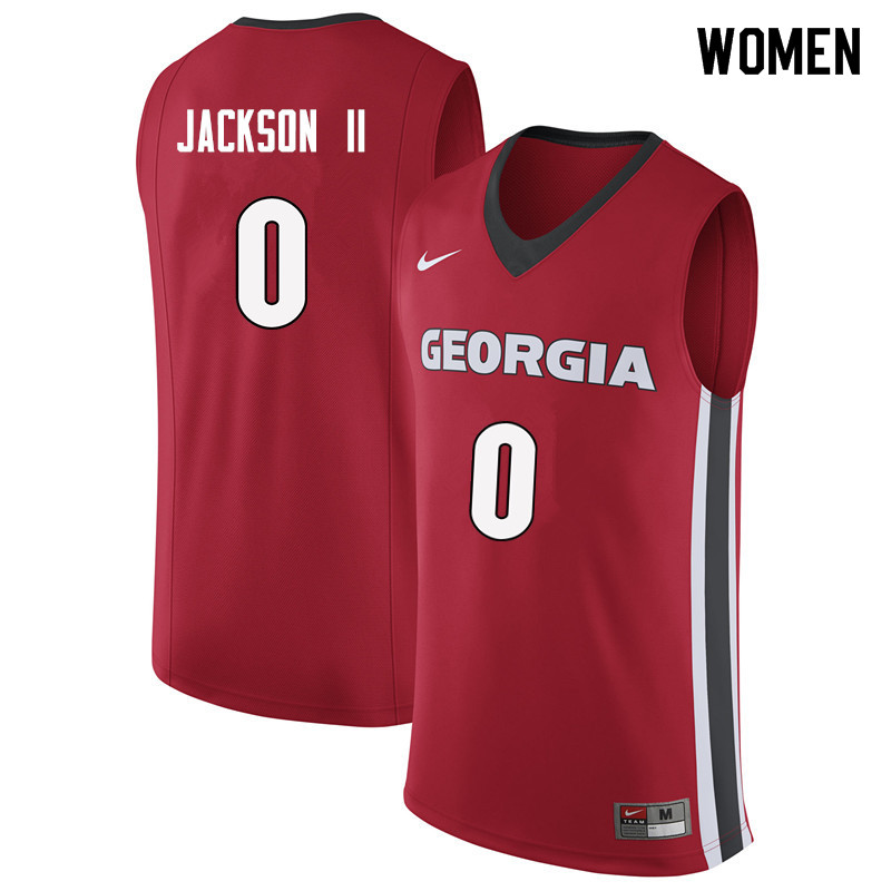 Women #0 William Jackson II Georgia Bulldogs College Basketball Jerseys Sale-Red