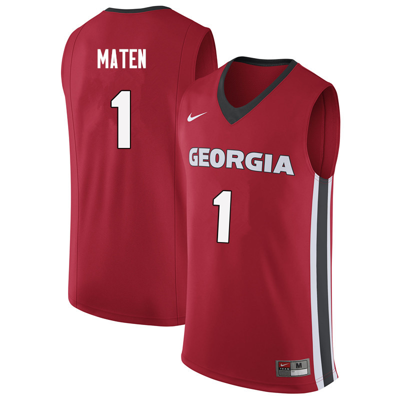 Men #1 Yante Maten Georgia Bulldogs College Basketball Jerseys Sale-Red