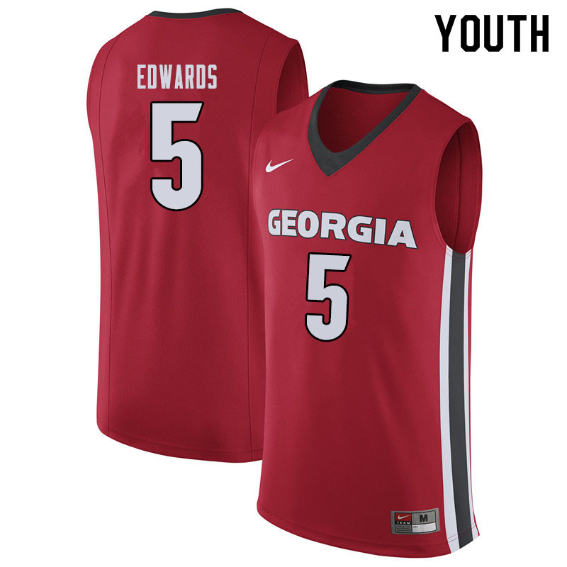 Youth #5 Anthony Edwards Georgina Bulldogs College Basketball Jerseys Sale-Red