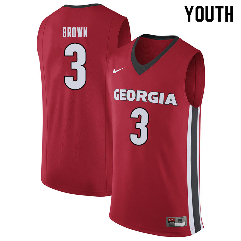 Youth #3 Christian Brown Georgina Bulldogs College Basketball Jerseys Sale-Red