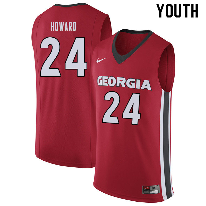 Youth #24 Rodney Howard Georgina Bulldogs College Basketball Jerseys Sale-Red