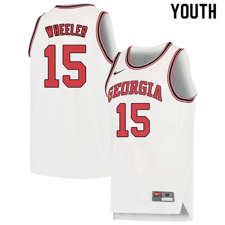 Youth #15 Sahvir Wheeler Georgina Bulldogs College Basketball Jerseys Sale-White