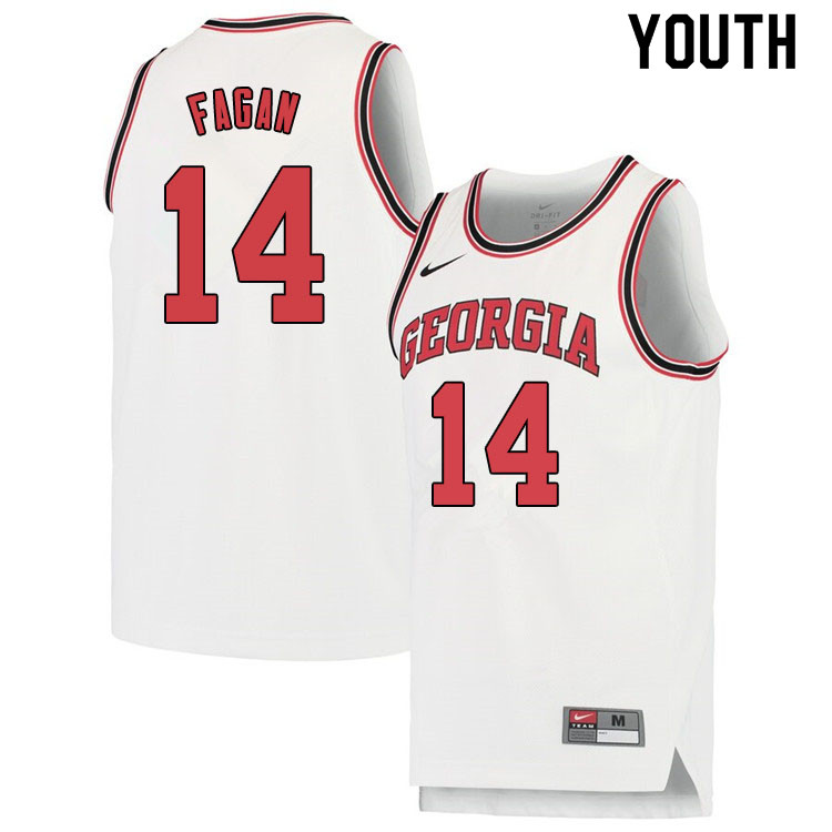 Youth #14 Tye Fagan Georgina Bulldogs College Basketball Jerseys Sale-White