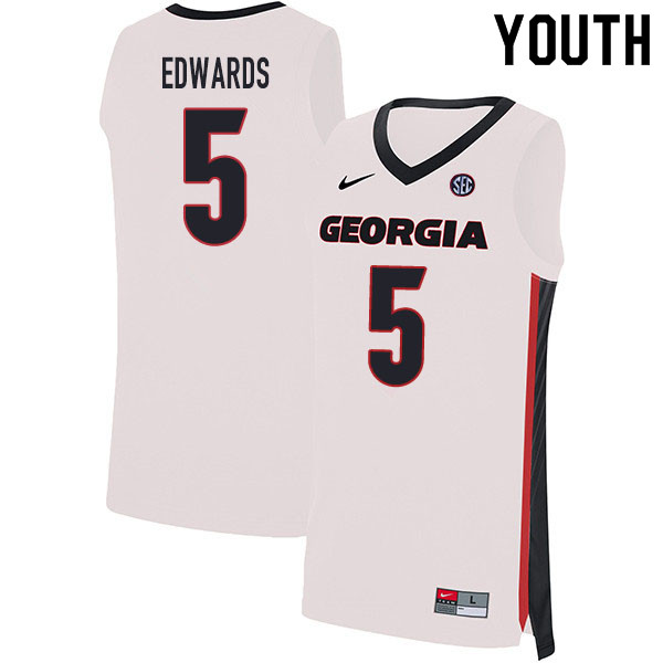 2020 Youth #5 Anthony Edwards Georgia Bulldogs College Basketball Jerseys Sale-White