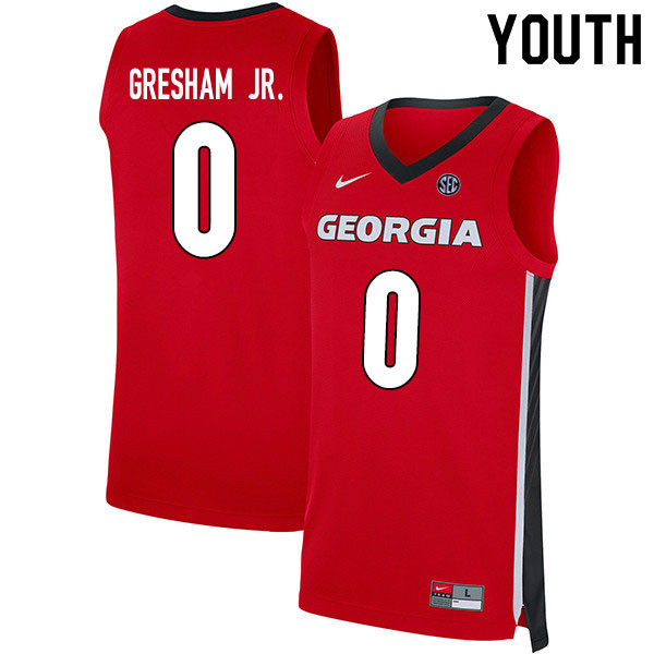 2020 Youth #0 Donnell Gresham Jr. Georgia Bulldogs College Basketball Jerseys Sale-Red