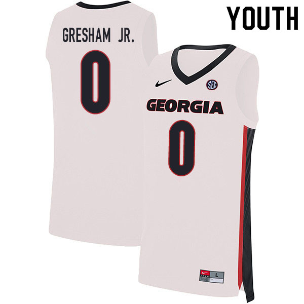 2020 Youth #0 Donnell Gresham Jr. Georgia Bulldogs College Basketball Jerseys Sale-White