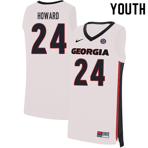 2020 Youth #24 Rodney Howard Georgia Bulldogs College Basketball Jerseys Sale-White
