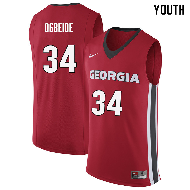 Youth #34 Derek Ogbeide Georgia Bulldogs College Basketball Jerseys Sale-Red