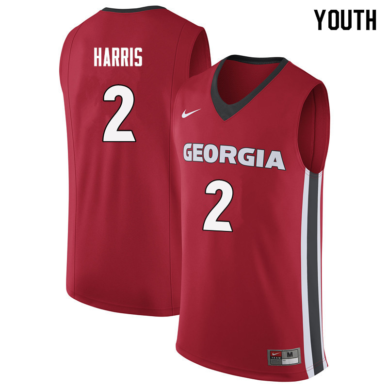 Youth #2 Jordan Harris Georgia Bulldogs College Basketball Jerseys Sale-Red