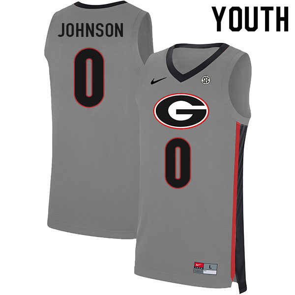 Youth #0 K.D. Johnson Georgia Bulldogs College Basketball Jerseys Sale-Gray