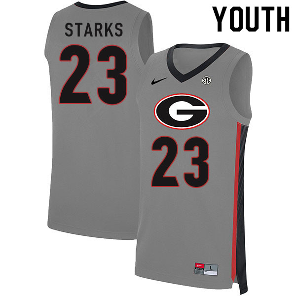 Youth #23 Mikal Starks Georgia Bulldogs College Basketball Jerseys Sale-Gray