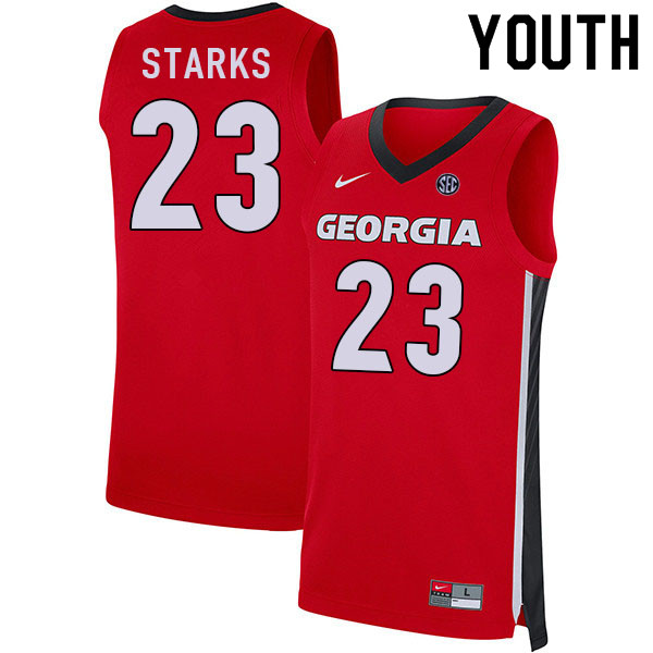 Youth #23 Mikal Starks Georgia Bulldogs College Basketball Jerseys Sale-Red