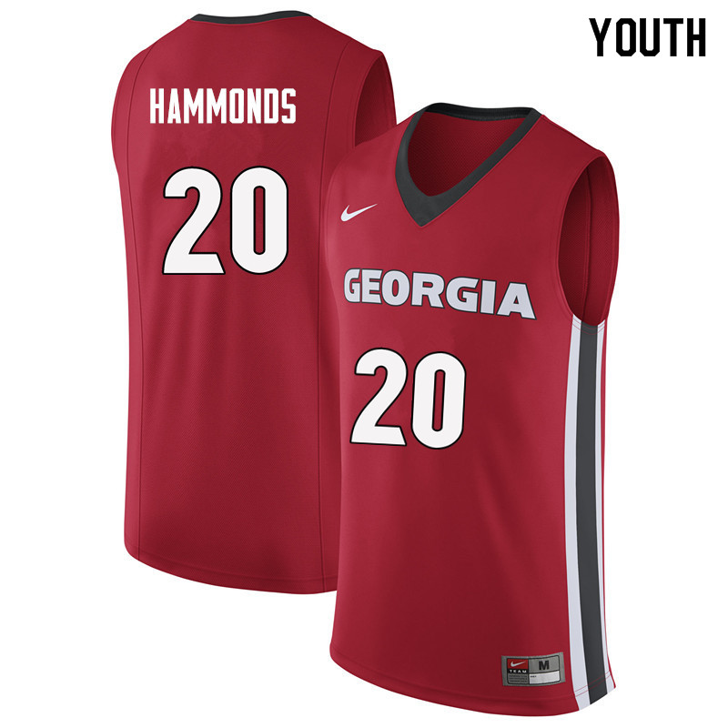 Youth #20 Rayshaun Hammonds Georgia Bulldogs College Basketball Jerseys Sale-Red