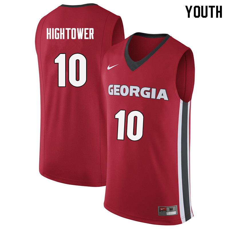Youth #10 Teshaun Hightower Georgia Bulldogs College Basketball Jerseys Sale-Red