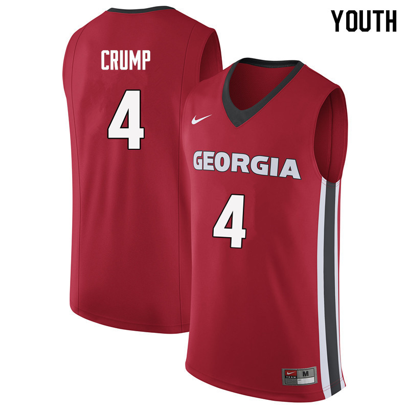 Youth #4 Tyree Crump Georgia Bulldogs College Basketball Jerseys Sale-Red