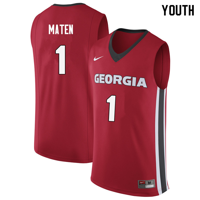 Youth #1 Yante Maten Georgia Bulldogs College Basketball Jerseys Sale-Red